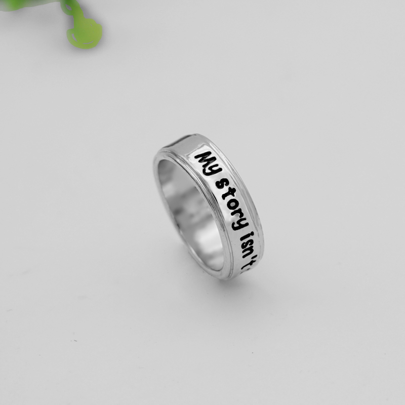 R005 Semicolon Handstamped Ring My story isn't over yet Suicide Awareness Inspirational Semicol Awareness image
