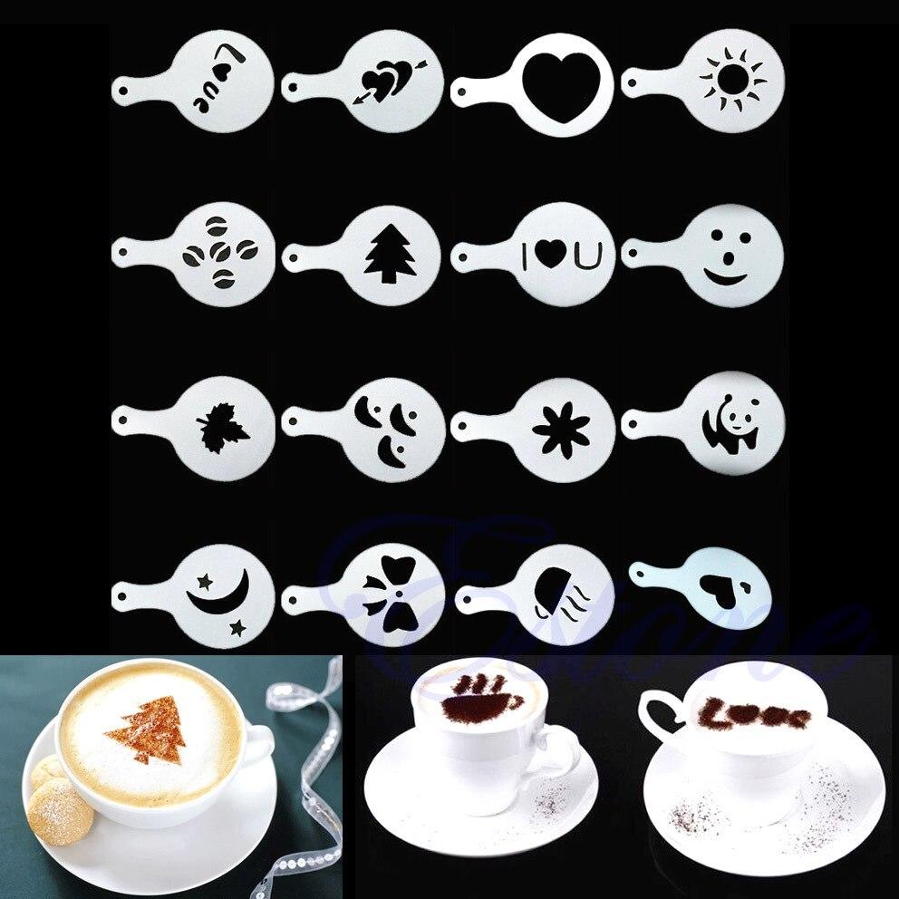 Creative 16Pcs DIY Fancy Coffee Pattern Barista Stencils Cappuccino Template Cacao Powder Strew Pad Duster Spray Coffee Art