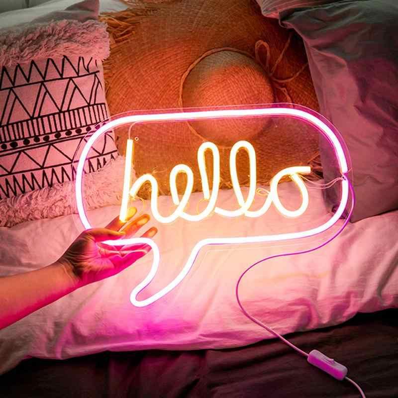 Светодиодная неоновая лампа Домашняя вечеринка, праздник свадебный фонарь для девочки комната декорационная Подвесная лампа Hello розовый желтый свет USB стиль (белый)