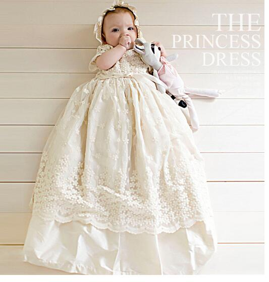 Baby Baptism Formal Dress 2017 Summer Flowers Infant Girl's Princess Dress Toddler Baby Girl Birthday Party Long Dresses White long criss cross open back formal party dress