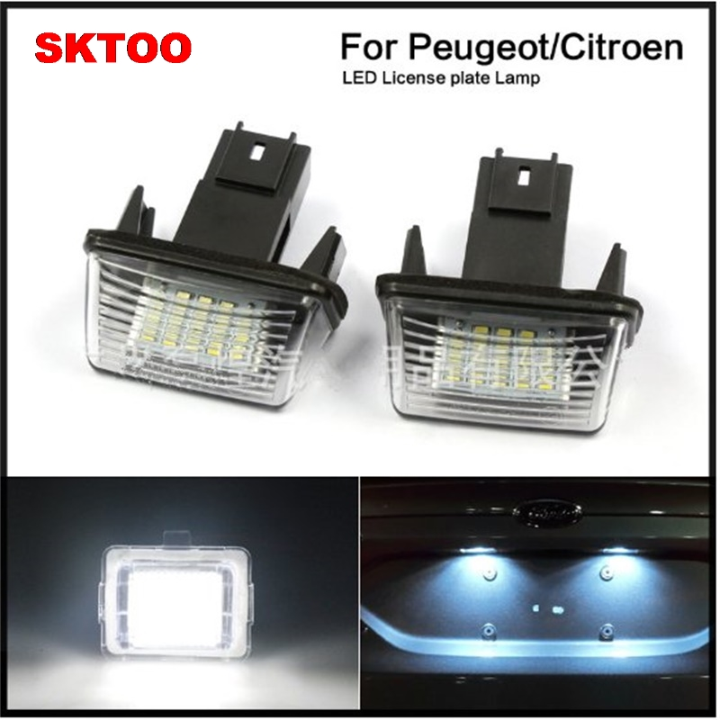 SKTOO LED Number License Plate Lamp OBC Error Free 18 LED For Peugeot 206 207 307 308 40 ...