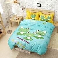 Blue Cartoon Boy gift Print Frog Bedding set 1 Duvet Cover1 Flat sheet/2Pillow cover kings twin Bed kids100%cotton Queen size