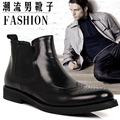 brand Genuine leather fashion Ankle boots the trend of the sleeve carved leather boots high commercial men's dress/wedding shoes