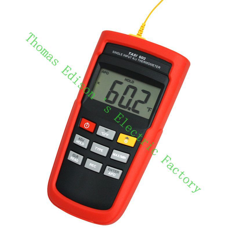 TASI-602 K-TYPE or J-TYPE Single Channel Thermocouple Thermometer Adjust thermocouple offset Storage 125 datas meter mastech ms6514 dual channel digital thermometer temperature logger tester usb interface 1000 set data k j t e r s n thermocouple