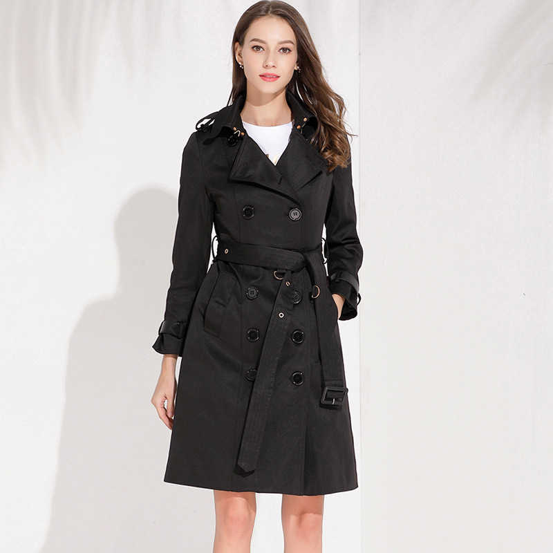 Fashion 2019 Long windbreaker women Autumn Winter New Double-breasted   Trench   coat for women Plus size High quality Ladies coats