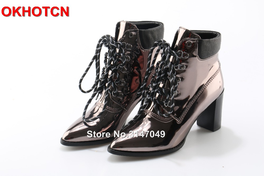 Rose Gold Patent Leather Women Ankle Boots Chunky Thick High Heel Party Shoes For Ladies Brand Autumn Shoes Woman 2017 Hot Sales 2017 semi rimless vintage cat eye women brand sunglasses women gold metal sun glasses for ladies party oculos de sol feminino