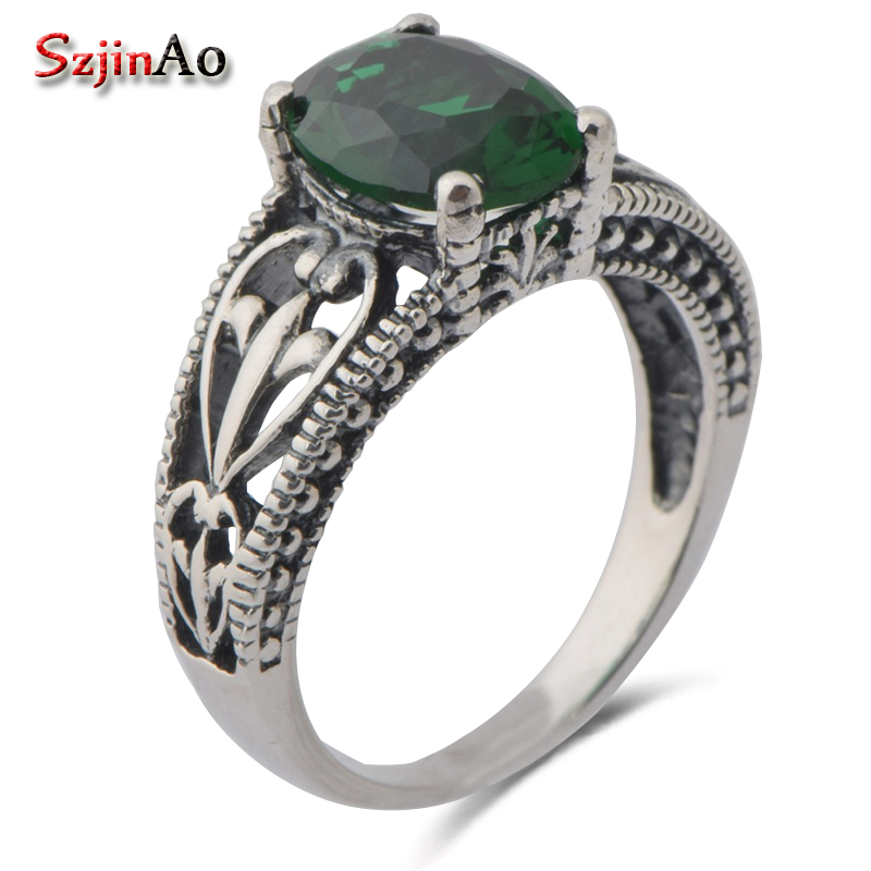 Szjinao Fashion women s Bohemian style ancient vintage jewelry 925 sterling silver green stone crystal Rings