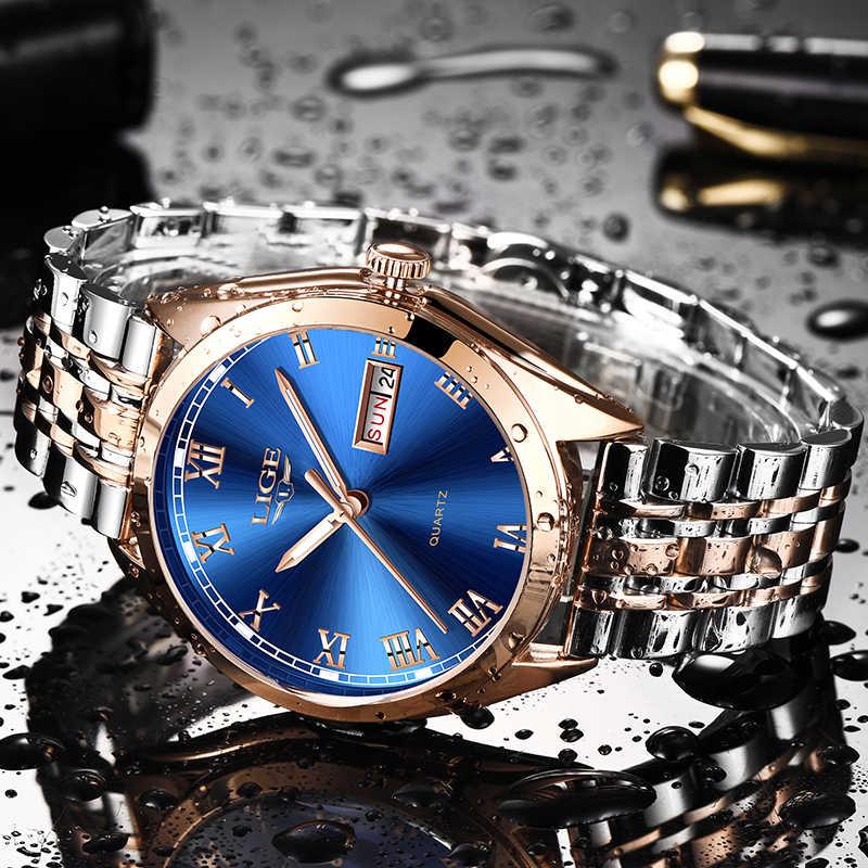 2019 LIGE Yeni Gül Altın Kadın Izle Iş quartz saat Bayanlar Üst Marka Lüks Kadın kol saati Kız Saat Relogio Feminin Oymak