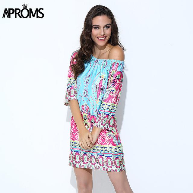 Aproms Bohemian Elegant Women Summer Dress Boho 2017 Off Shoulder Beach Tunic Dresses Sundress European Sexy Vestidos Mujer