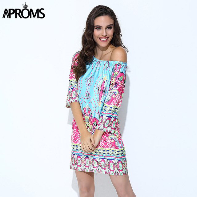 Aproms Bohemian Elegant Women Summer Dress Off Shoulder Beach Tunic Dresses Sundress European Style Sexy Vestidos De Ropa Mujer
