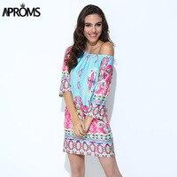 2016 New Bohemian Style Women Summer Dress Sexy Slash Neck Floral Print Beach Dresses Big Plus