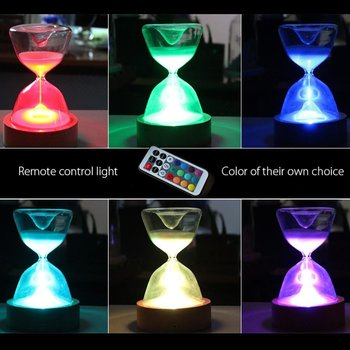 زجاج الساعة الرملية أضواء الموقت LED ساعة رملية ليلة ضوء النوم مساعد مع جهاز التحكم عن بعد لعيد الميلاد هدايا عيد ميلاد ديكور المنزل