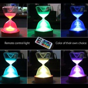 Image 5 - Reloj de arena de cristal temporizador con luces LED luz nocturna de arena ayudante de sueño con Control remoto para regalos de navidad cumpleaños decoración del hogar
