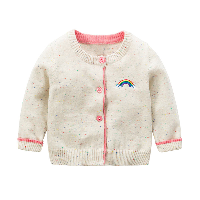 Rainbow Cotton Baby Sweater For Girls Cute Dots Baby Girls Cardigan Long Sleeve O Neck Kids Sweater Coat Autumn Girls Cardigan hot sale kids sweater boys sweater children autumn winter solid cotton long sleeve girls pullover o neck 50w0020