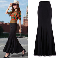 Autumn Winter Women S Long Skirt Knitted Cotton Flounced Skirts Long Fishtail Mermaid Skirts