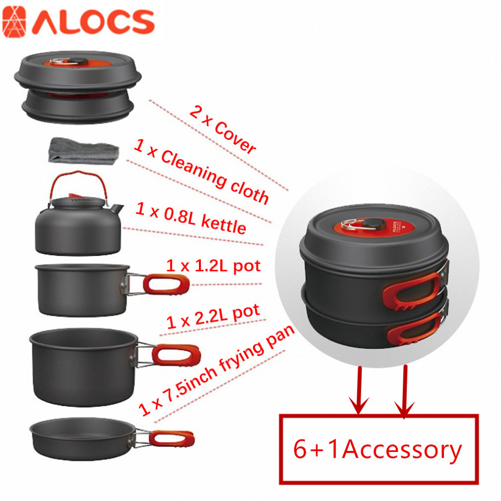 ALOCS 7set Portable Ultralight Aluminum Outdoor Camping Hiking Cookware Cooking Picnic Pan Pot Teapot Dishcloth 4 People Hot! kingcamp 2016 big capacity 20l portable ultralight travel car cooler box for outdoor cooking picnic barbecue camping food