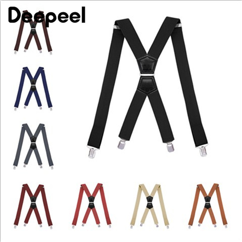 Deepeel 1pc 3.5X120cm Elastic Adjustable Suspenders Elastic Adult 4 Clip Strap Unisex X-shaped Trousers Strap Clip Accessories