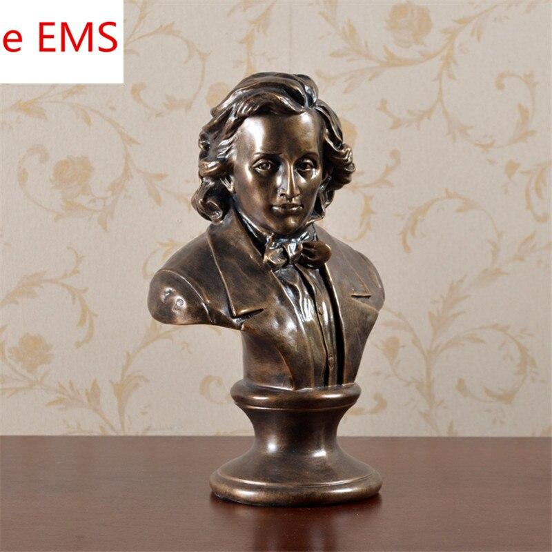 Романтическая музыка Fryderyk Franciszek Chopin бюст статуя пианино поэт смолы ремесленника украшения для дома материал L2353