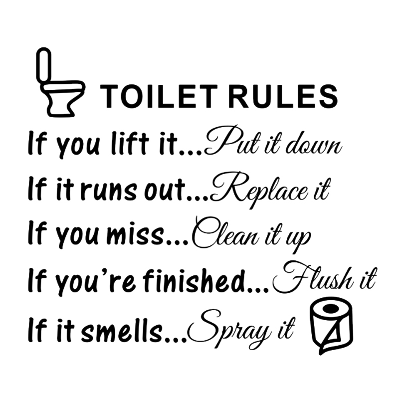 Hot Toilet Rules Bathroom Removable Wall Sticker Vinyl Art Decals DIY Home Decor in Wall Stickers from Home Garden