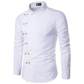 2019 fashion men's autumn High-grade pure cotton business long sleeve shirts/men's lapel Oblique buckle design Casual shirts XXL