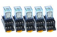 5 Bộ MY4NJ 4NO 4NC Xanh Đèn LED Chỉ Thị Tiếp Điện DIN Đường Sắt 14 Viên Pin + Chân Đế Mini Rơ Le