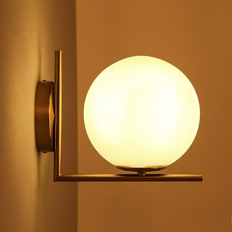 Northern Europe Modern Simple LOFT Industrial Wind Glass Ball Wall Lamp American Creative LED Bedroom Bedside Living Room Lights кружка easy life новогодняя коллекция дед мороз с подарками 350 мл