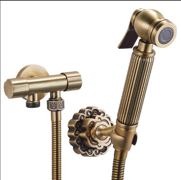 Antique Bathroom Bidet faucet toilet bidet shower set Portable bidet spray with brass shower holder and 1.5m hose handheld bidet hot brass toilet shower spray set and 1 5m stainless steel flexible hose bathroom accessories shower valves
