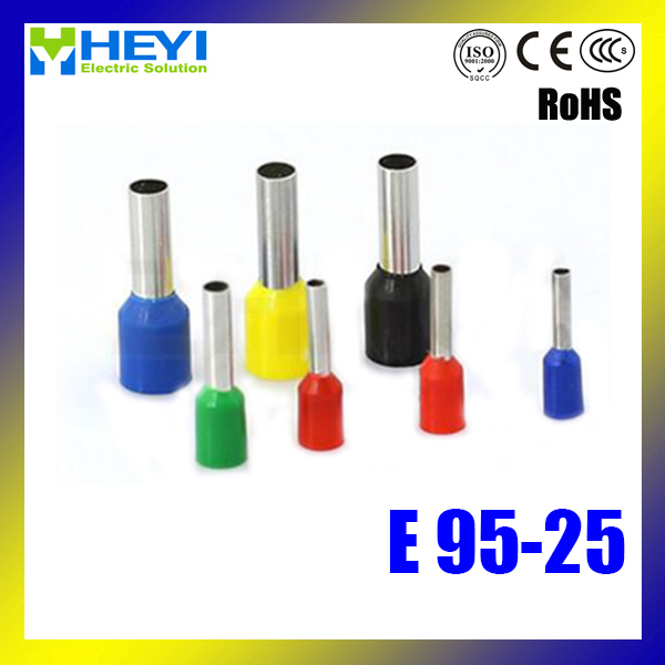 Top quality 100pcs/lot E95-25 AWG#310 Tube Insulated End Terminals Copper Crimp Terminals 25 35 50mm2 awg3 0 vh2 50wf insulated