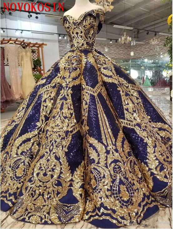 2019 Sparkling red satin gold sequin Lace Appliqued Party Dresses sweetheart Ball Gown Quinceanera dresses