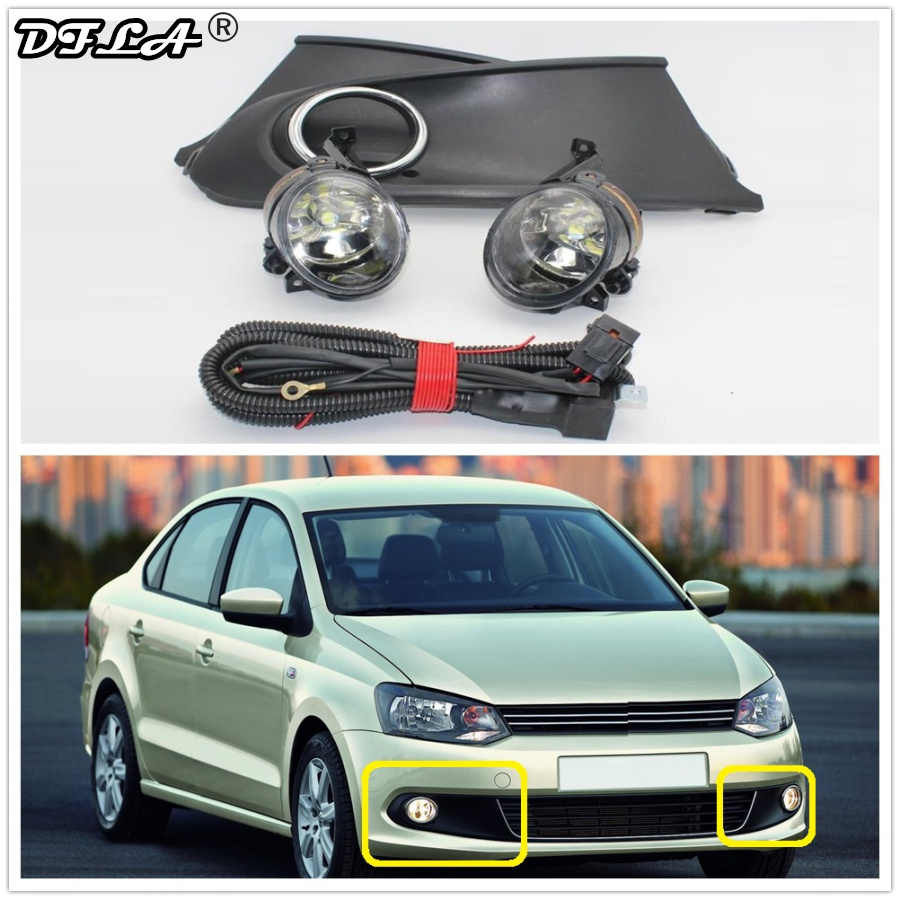 LED Lampu untuk VW Polo Vento Sedan Saloon 2011 2012 2013 2014 2015 2016 Lampu Kabut LED Kabut Lampu + grille Cover + Harness Assembly