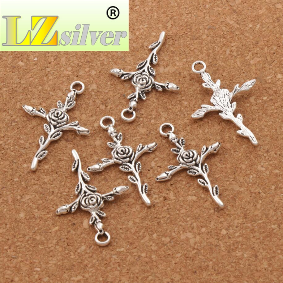 Vintage Rose Flower Cross Spacer Charm Beads 22pcs Antique Silver Pendants Jewelry DIY L440 23 6x34 7mm