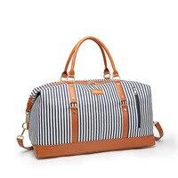 Canvas Women Travel Bag New Fashion Striped Duffel Tote Large Weekend Bag Female Shoulder Bags