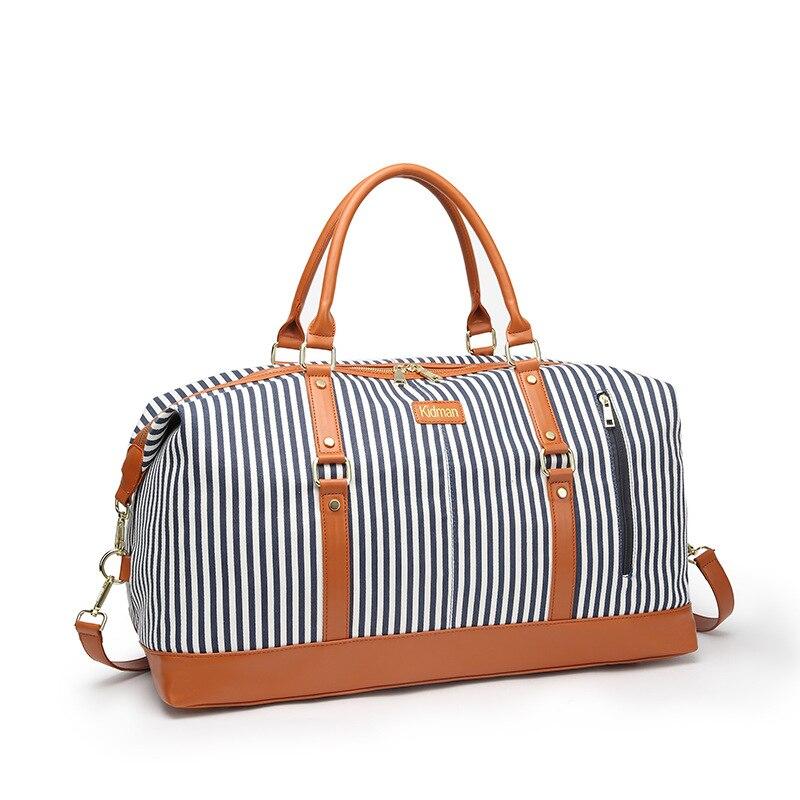 Toile femmes sac de voyage nouvelle mode rayé polochon fourre-tout grand week-end sac femme sacs à bandoulière