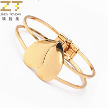 2018 Hot Fashion Bijoux Ladies Gold Color Peach Heart Wide Cuff Open Charm Bracelets Bangles Women Jewelry Beach Summer Style(China)