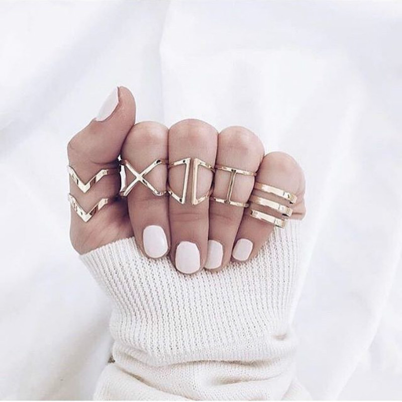 5 Pcs/Fashion Popularity New Geometry V-shaped Irregular Hollow Gold Women's Ring Set