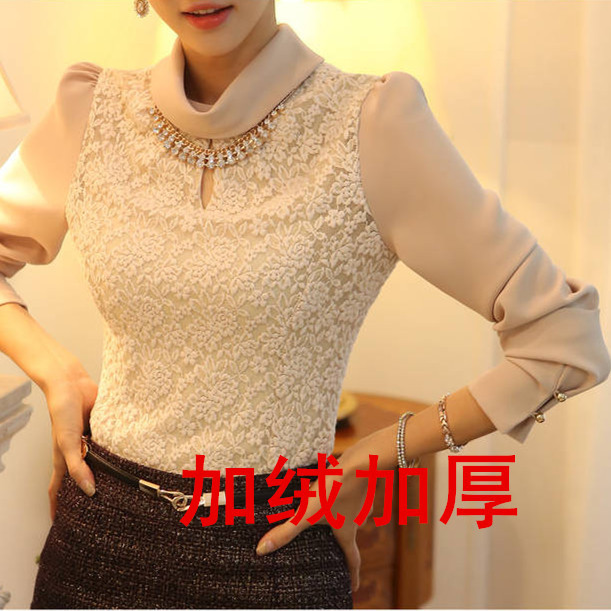With Nacklace--2014 spring new women's autumn blouses shirt sweet rose lace long sleeve shirts casual blouses