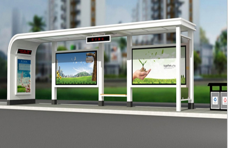 Solar Energy Led Advertising Led Backlight Lamp Kiosk Totem Player Rolling Advertising Signage For Bus Waiting Pavilion Station