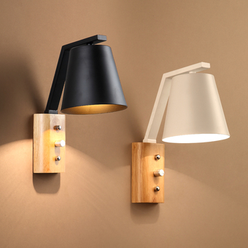Nordic Wood Wall Lamps Creative Modern Minimalist Bedroom Bedside Balcony Aisle Porch Stair Study Living Room Modern Lights