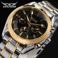 Jargar Men's watch Gold Color Bezel Stainless Steel Bracelet Black Dial 6 Hands dress wrist watch JAG6055M4T1