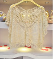 Crochet Maternity Lace Tops Batwing Sleeve See Through Lace Top Wear For Maternity Photography Props Hollow Out V-neck Tops
