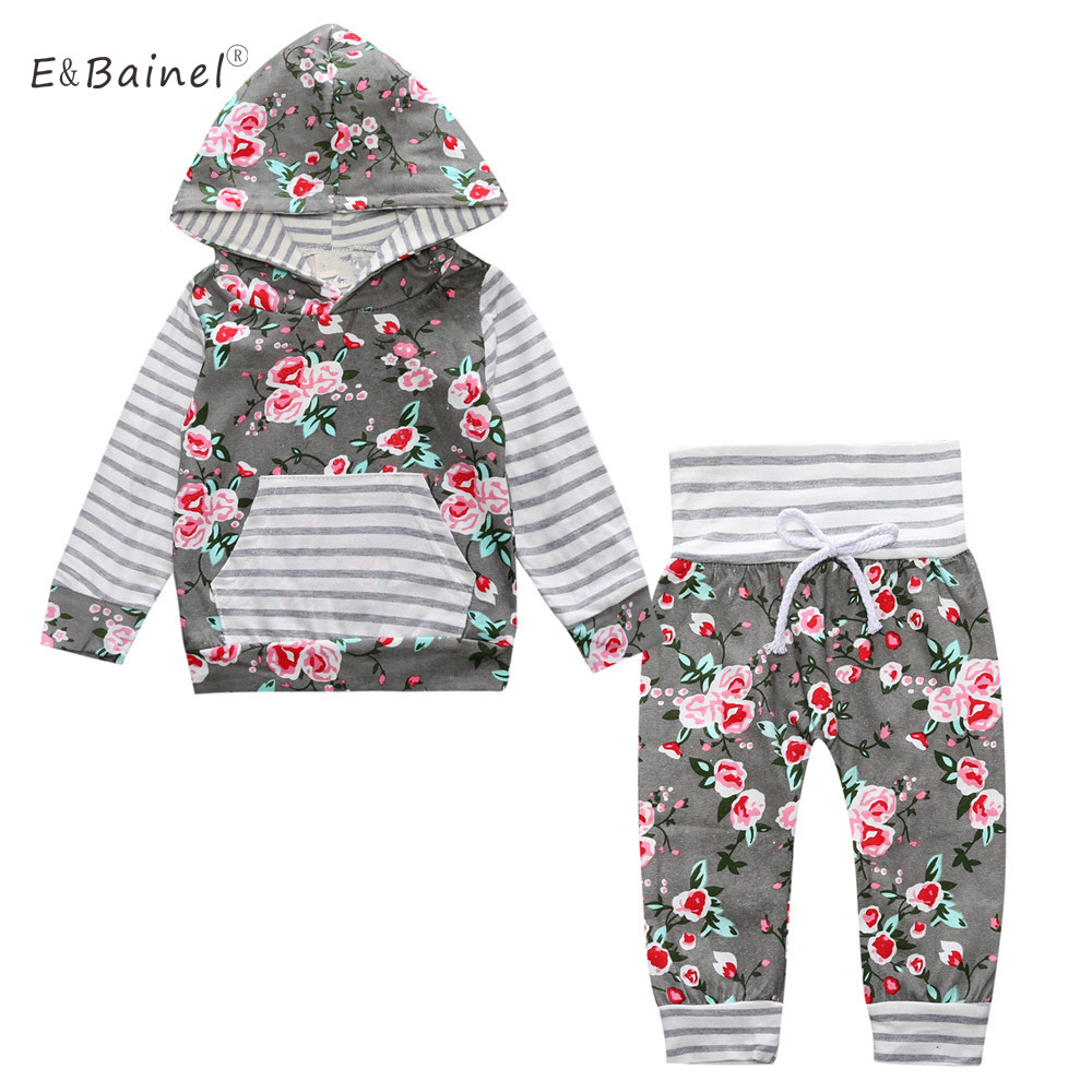 Autumn Infant Baby Girls Clothing Long Sleeve 2Pcs Hooded Tops Floral Pants Newborn Boys Clothes Set Baby Outfit Suit 2pcs children outfit clothes kids baby girl off shoulder cotton ruffled sleeve tops striped t shirt blue denim jeans sunsuit set