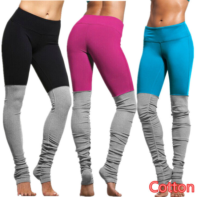5419a93b8b Cotton Workout Fitness Gym Leggings Black Stretchy Sports Running Tights  Rose Red High Waist Athletic Trousers Women Yoga Pants