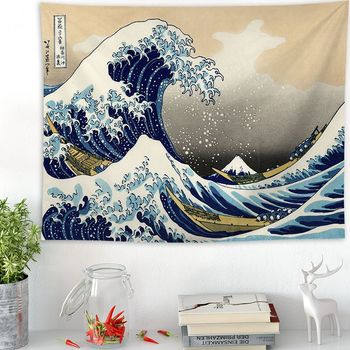 Japonia Kanagawa fale drukowane gobelin do zawieszenia wieloryb Arowana wiszące gobeliny Boho narzuta mata do jogi koc 2 rozmiar tanie i dobre opinie Pint japan style Inne Drukuj other rectangle 100 poliester Yoga Mat Blanket Wall Hanging Tapestries