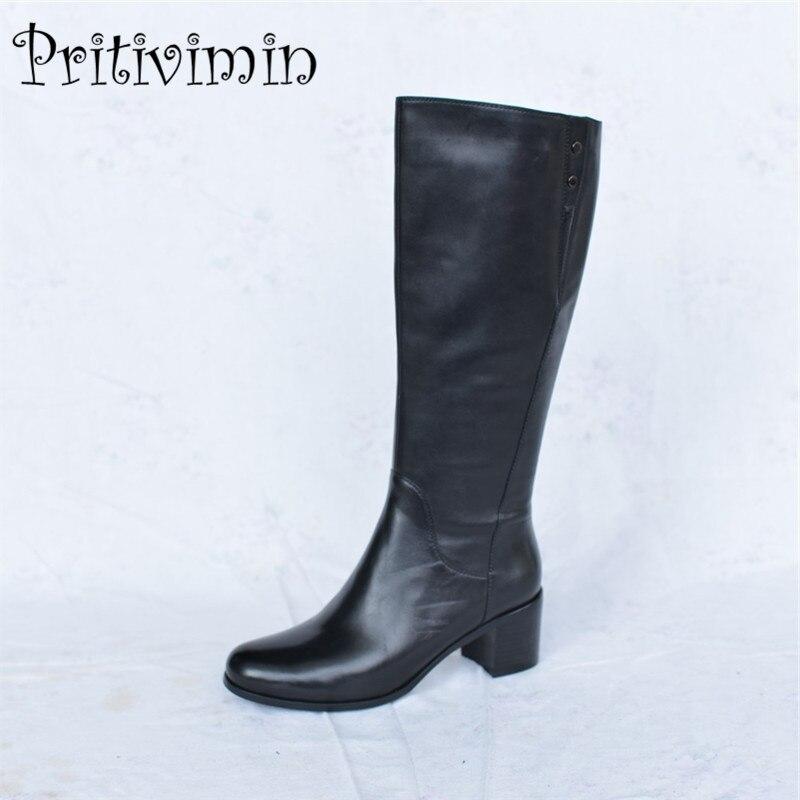 2018 automne dames en cuir véritable bottines femmes femme chaud doublé chaussures femme hiver épais talon bottes d'équitation Pritivimin FN44