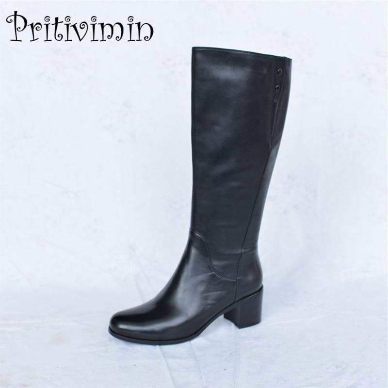 2018 autunno delle signore del cuoio genuino bottines femmes donna warm foderato scarpe femminili invernali di spessore tacco stivali da equitazione Pritivimin FN44