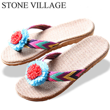 Flax Slippers Flip-Flops Stone Village Indoor Shoes Large-Size High-Quality Women Flower