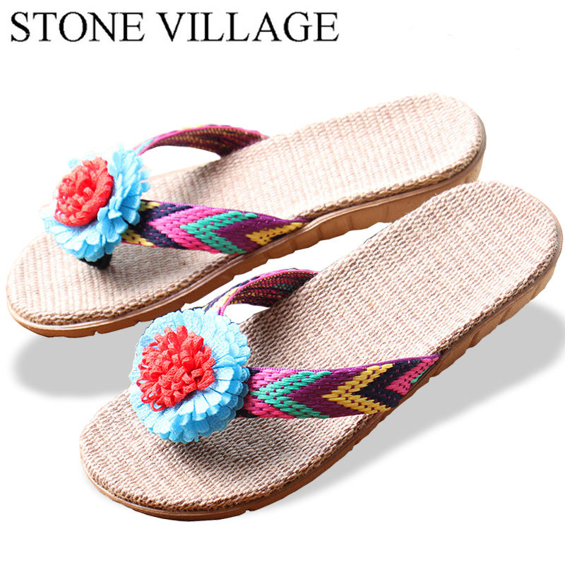 STONE VILLAGE New Lovers Women Men Slippers Flower  Flax Slippers Indoor Shoes Non-Slip Flip Flops High Quality Large Size 35-45 krorche brand new unisex lovers flip flops indoor