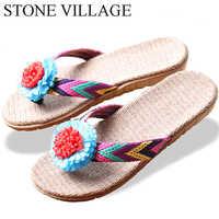 STONE VILLAGE nouveaux amoureux femmes hommes pantoufles fleur lin pantoufles chaussures d'intérieur antidérapant tongs haute qualité grande taille 35-45