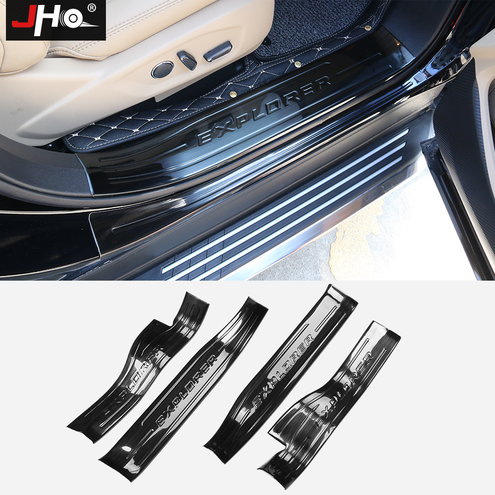 JHO Stainless Steel Door Sill Plate Step Scuff Guard Protector Cover For Ford Explorer 2012-2018 13 14 15 16 17 Car Accessories stainless steel pedal rear trunk guard bumper protector scuff door sill plate for 16 17 ford explorer 2016 2017