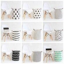 INS Nordic Storage Basket Folding Laundry Kids Toys Organizer Barrel Dirty Clothes Bucket Household Sundry Hamper